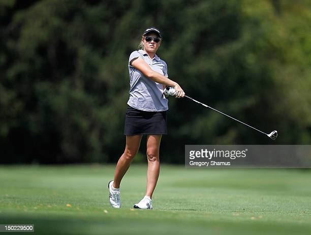 Natalie Gulbis hits from the 17th fairway during the final round of the the Jamie Farr Toledo Classic presented by Kroger, Owens Corning and O-I at...