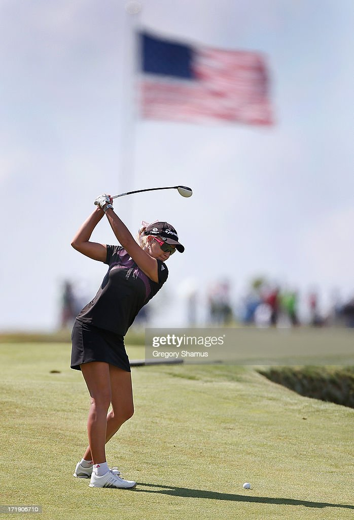 Natalie Gulbis hits from the eighth fairway during the third round of the 2013 U.S. Women's Open at Sebonack Golf Club on June 29, 2013 in Southampton, New York.