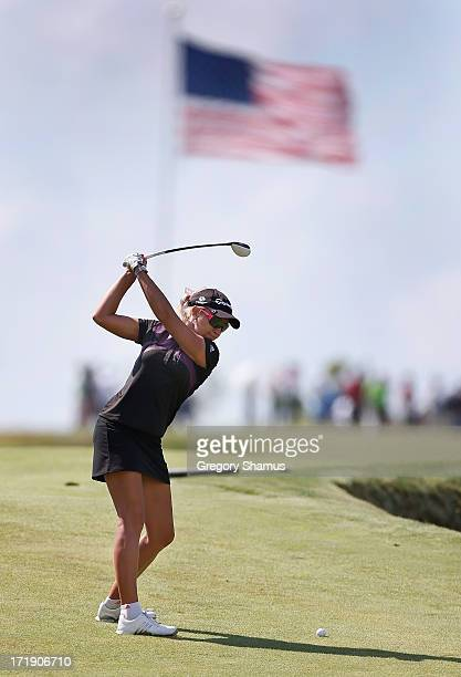 Natalie Gulbis hits from the eighth fairway during the third round of the 2013 US Women's Open at Sebonack Golf Club on June 29 2013 in Southampton...