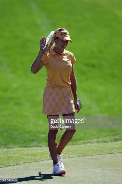 Natalie Gulbis of the US holes a long putt for par at the par 3 17th hole during the first round of the 2007 Kraft Nabisco Championship held at...