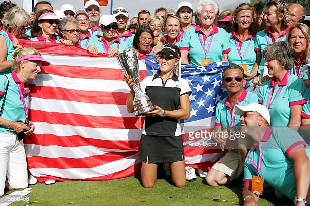 Natalie Gulbis of the USA holds the winner's trophy after winning the Evian Masters on July 29 2007 in Evian France