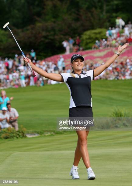 Natalie Gulbis of USA celebrates after winning the Evian Masters at the first playoff hole on July 29 2007 in Evian France