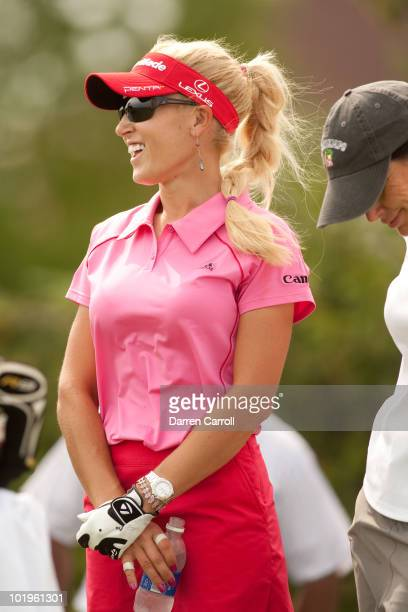 Natalie Gulbis waits on the tee during the first round of the LPGA State Farm Classic at Panther Creek Country Club on June 10 2010 in Springfield...