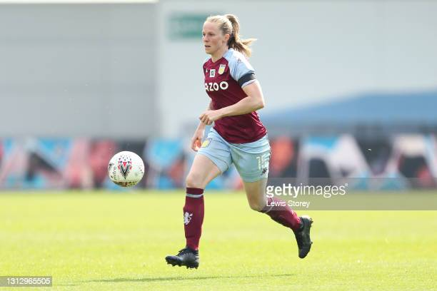 Natalie Haigh of Aston Villa runs with the ball during the Vitality Women's FA Cup Fourth Round match between Manchester City Women and Aston Villa...