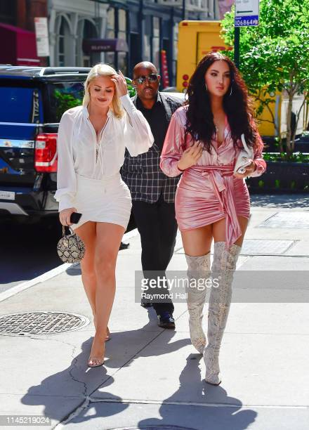 Natalie Halcro and Olivia Pierson are seen outside Aol Build on May 20, 2019 in New York City.