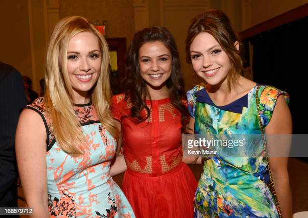 Natalie Hall Danielle Campbell and Aimee Teegarden backstage at the CW Network's 2013 Upfront at New York City Center on May 16 2013 in New York City