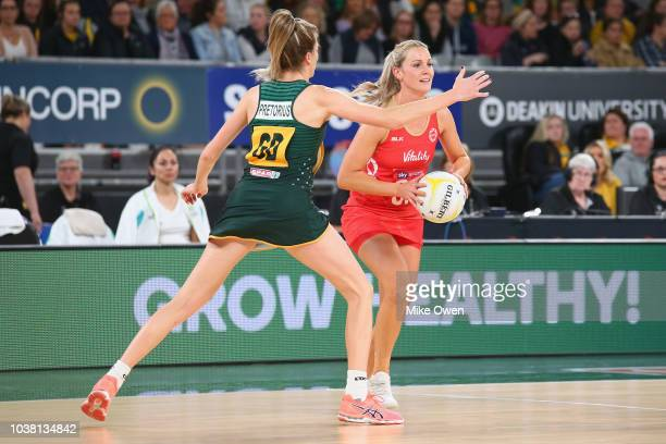 Natalie Haythornthwait of England looks to pass the ball during the Quad Series International Test match between the England Roses and the South...