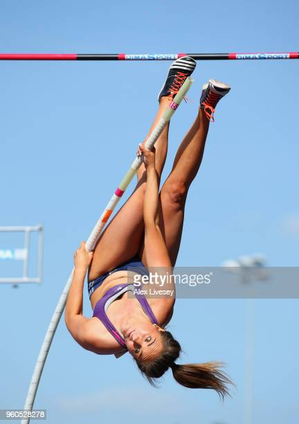 Natalie Hooper competes in the Women's Pole Vault during the Loughborough International Athletics event on May 20 2018 in Loughborough England