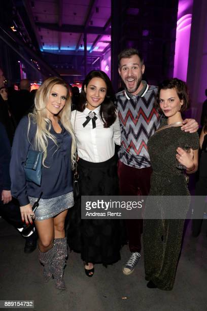 Natalie Horler Nina Moghaddam Joschen Schropp and guest pose at the after party of the 1Live Krone radio award at Jahrhunderthalle on December 07...
