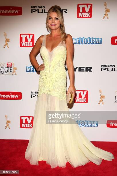 Natalie Hunter arrives at the 2013 Logie Awards at the Crown Palladium on April 7 2013 in Melbourne Australia
