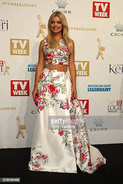 Natalie Hunter arrives at the 58th Annual Logie Awards at Crown Palladium on May 8 2016 in Melbourne Australia