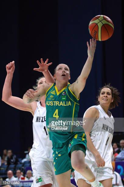 Natalie Hurst of Australia shoots during the second match between the Australian Opals and the New Zealand Tall Ferns at Brisbane Entertainment...