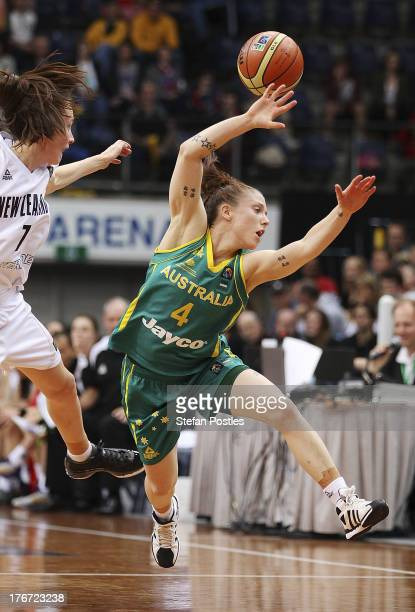Natalie Hurst of the Opals looses the ball during the Women's FIBA Oceania Championship match between the Australian Opals and the New Zealand Tall...