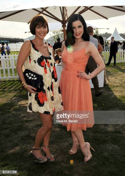 Natalie Imbruglia and Dita von Teese attend the annual Cartier International Polo Day at the Cartier Marquee in Great Windsor Park on July 27 2008 in...