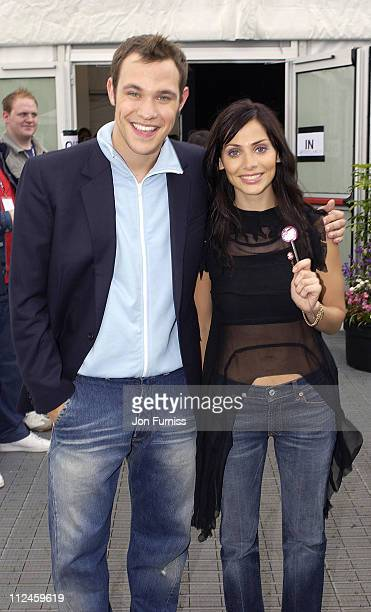 Natalie Imbruglia and Will Young during Capital FM Party In The Park 2002 at Hyde Park in London Great Britain