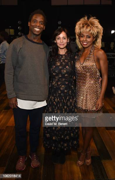 Natalie Imbruglia poses backstage with cast members Kobna HoldbrookSmith and Adrienne Warren from the West End production of 'Tina The Tina Turner...