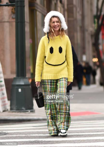 Natalie Joos is seen wearing a self made sweater and plaid pants outside the 3.1 Phillip Lim show during New York Fashion Week: Fall/Winter 2019 on...