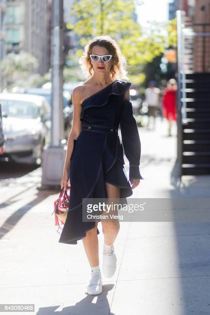 Natalie Joos wearing a dress seen in the streets of Manhattan outside SelfPortrait during New York Fashion Week on September 9 2017 in New York City