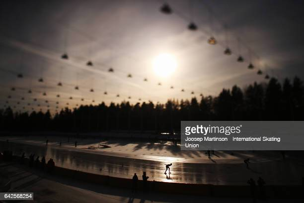 Image was created using a variable planed lens Natalie Kerschbaummayr of Czech Republic competes in the ladies 3000m during day two of the World...