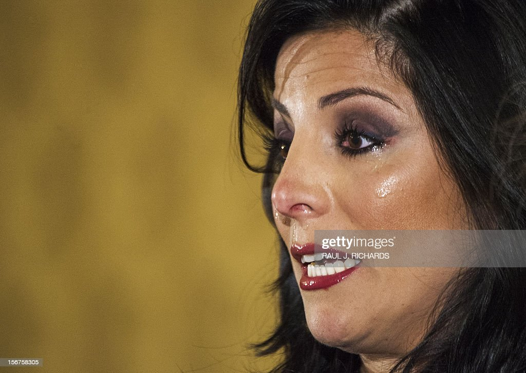 Natalie Khawam and attorney Gloria Allread (not shown)conduct a press conference November 20, 2012, at the Ritz-Carlton hotel in Washington, DC. Khawam is the twin sister of Tampa socialite Jill Kelley and wanted to correct misconceptions about her sister and her relationship with General David Petraeus and his wife Holly. AFP Photo/Paul J. Richards