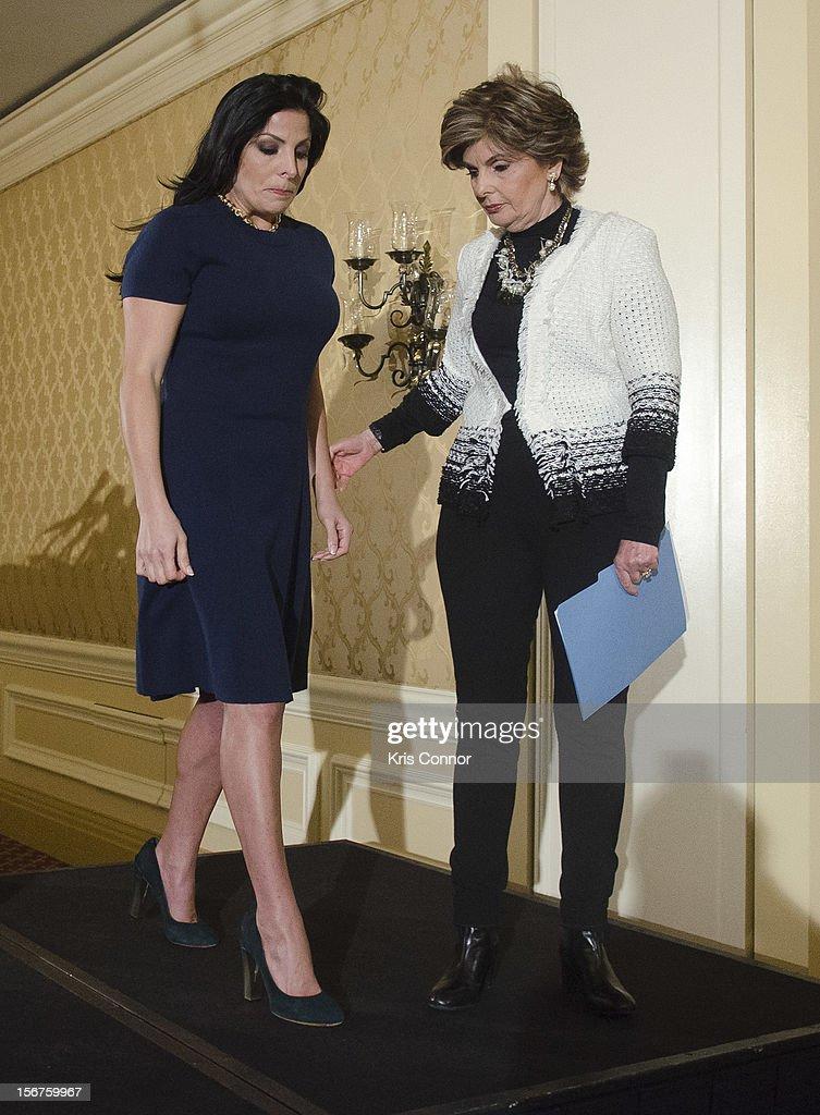 Natalie Khawam and Gloria Allred leaves the Gloria Allred News Conference With Natalie Khawam at Ritz-Carlton Hotel on November 20, 2012 in Washington, DC.