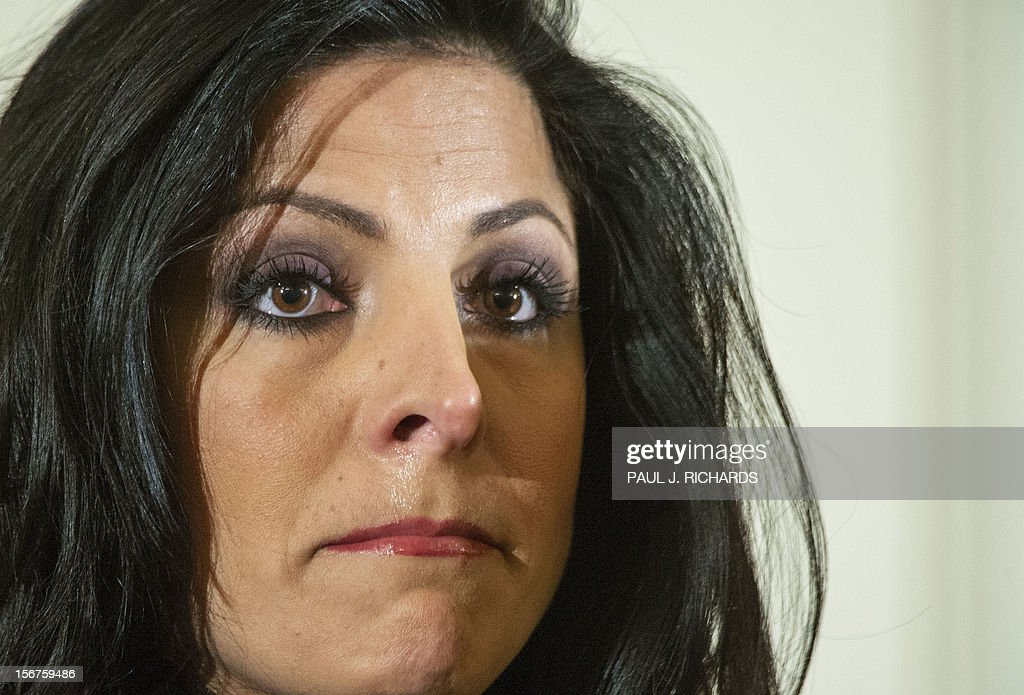 Natalie Khawam and her attorney Gloria Allred (not seen) conduct a press conference November 20, 2012, at the Ritz-Carlton hotel in Washington, DC. Khawam is the twin sister of Tampa socialite Jill Kelley and wanted to correct misconceptions about her sister and her relationship with General David Petraeus and his wife Holly. AFP Photo/Paul J. Richards