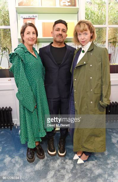 Natalie Kingham Osman Yousefzada and Anna Maxwell Martin attend the House Of Osman launch party supported by Peroni Ambra on April 25 2018 in London...