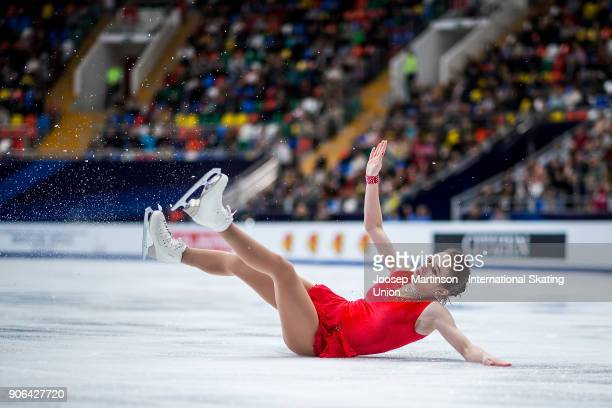 Natalie Klotz of Austria falls in the Ladies Short Program during day two of the European Figure Skating Championships at Megasport Arena on January...