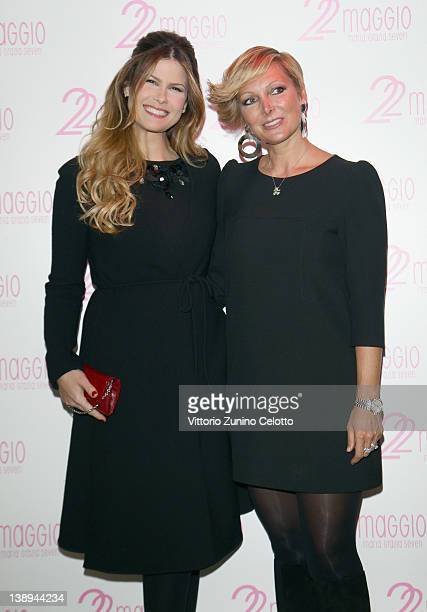 Natalie Kriz and Francesca Severi attend the 22 Maggio By Maria Grazia Severi collection are displayed on February 14, 2012 in Milan, Italy.