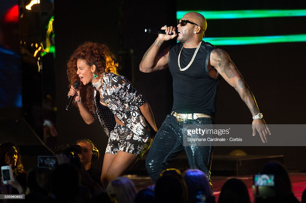 Natalie La Rose and Flo'Rida perform during the ceremony of the World Music Awards 2014 at Sporting Monte-Carlo on May 27, 2014 in Monte-Carlo, Monaco.