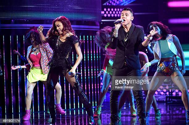 Natalie La Rose and Kevin Roldan perform onstage during Telemundo's Latin American Music Awards at the Dolby Theatre on October 8 2015 in Hollywood...