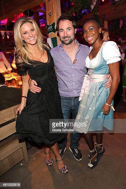 Natalie Lefevre Nicholas Frankl founder of my yacht group and Nicole Coste mother of Albert of Monaco's son Alexandre during the Oktoberfest 2015 at...