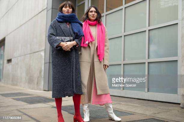 Natalie Lim Suarez and Dylana Lim Suarez are seen on the street attending Rachel Comey during New York Fashion Week on February 06, 2019 in New York...