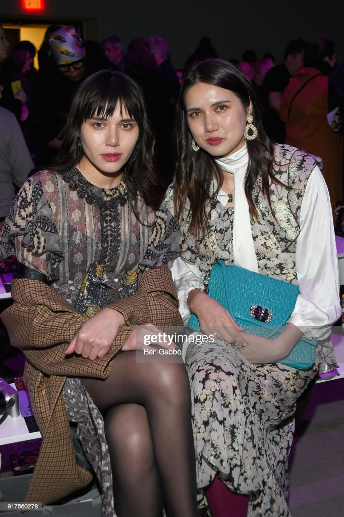 Natalie Lim Suarez and Dylana Suarez attend the Anna Sui fashion show during New York Fashion Week: The Shows at Gallery I at Spring Studios on February 12, 2018 in New York City.