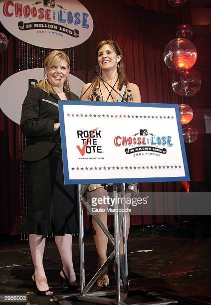 Natalie Maines and Emily Robinson of the Dixie Chicks attend the 2004 Rock the Vote Awards on February 7 2004 in Hollywood California