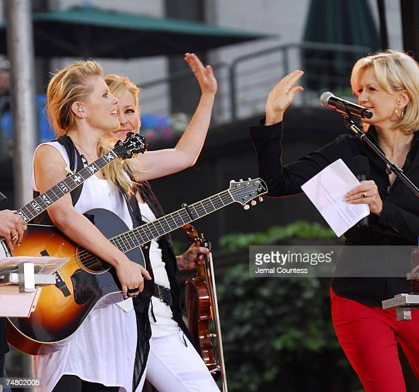 Natalie Maines and Martie Maguire of the Dixie Chicks with Diane Sawyer at the Bryant Park in New York City New York