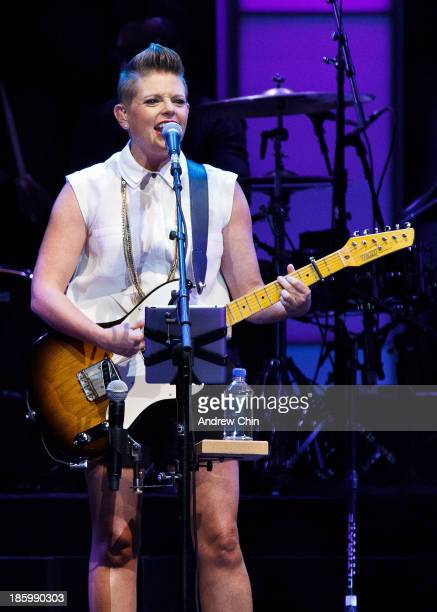 Natalie Maines of the Dixie Chicks performs their 'Long Time Gone Tour' opener at Rogers Arena on October 26, 2013 in Vancouver, Canada.