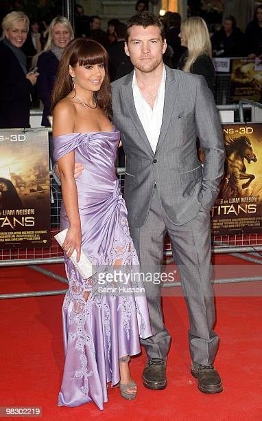 Natalie Mark and Sam Worthington arrive at the World Film Premiere of 'Clash of the Titans' at the Empire Leicester Square on March 29, 2010 in...