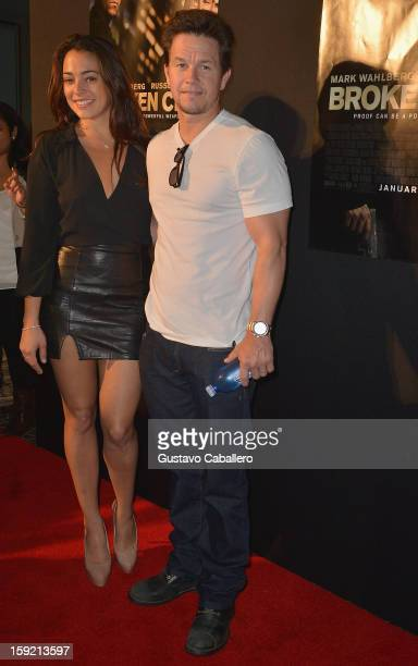 Natalie Martinez and Mark Wahlberg attends screening of Broken City at Regal South Beach on January 9 2013 in Miami Florida
