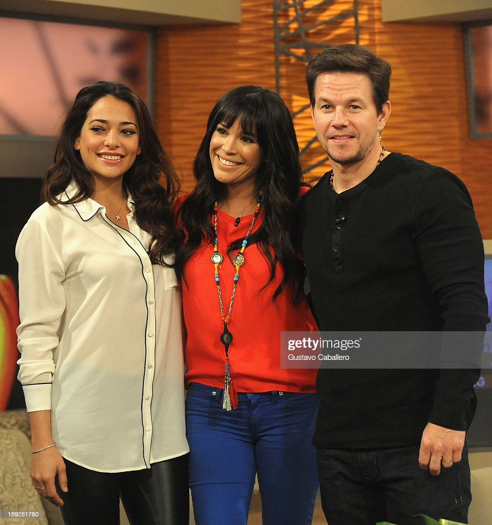 Natalie Martinez,Karla Martínez and Mark Wahlberg on The Set Of Despierta America to promote new film 'Broken City' at Univision Headquarters on January 10, 2013 in Miami, Florida.