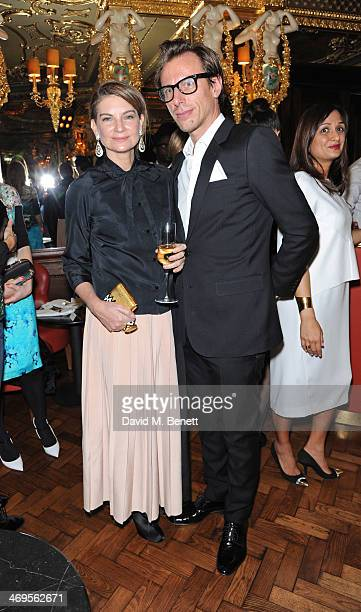 Natalie Massenet and Erik Torstensson attend the GRACE debut and AW14 dinner at Cafe Royal on February 15 2014 in London England