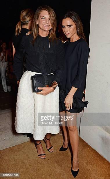 Natalie Massenet and Victoria Beckham attend as Ambassador Barzun Mrs Brooke Barzun and Alexandra Shulman celebrate London Fashion Week at Winfield...