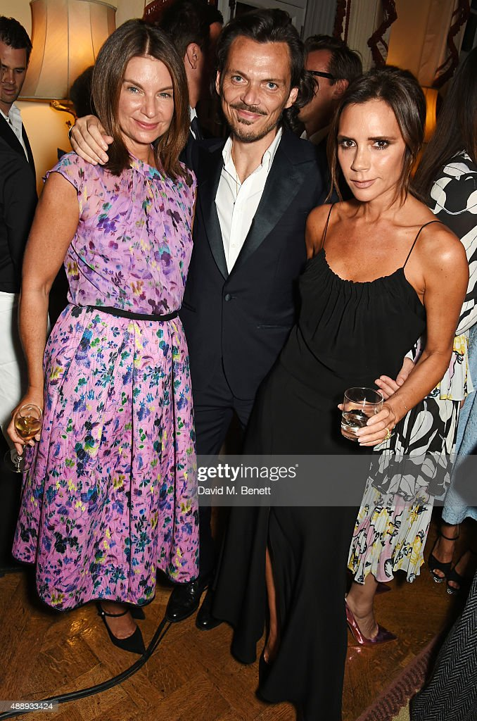 Natalie Massenet, Matthew Williamson and Victoria Beckham attend the London Fashion Week party hosted by Ambassador Matthew Barzun and Mrs Brooke Brown Barzun with Alexandra Shulman, in association with J. Crew, at American Ambassadors Residence, Winfield House,Regents Park on September 18, 2015 in London, England.