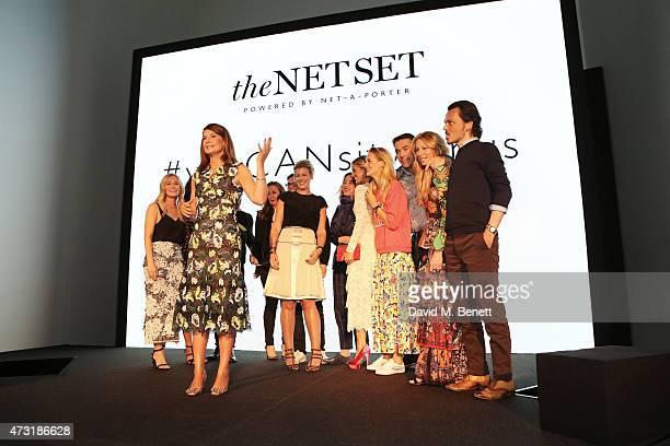 Natalie Massenet NetaPorter Founder speaks on stage in front of Alexandra Hoffnung Lucy Yeomans Erdem Moralioglu Sarah Watson Alice Temperley Laura...
