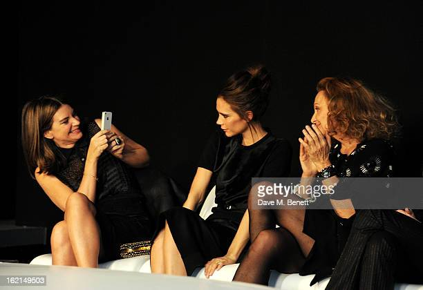 Natalie Massenet, Victoria Beckham and Diane Von Furstenberg attend the 2013 International Woolmark Prize Final at ME London on February 16, 2013 in...
