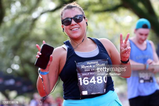 Natalie Massiah reacts after finishing the Humana Rock 'n' Roll New Orleans 1/2 Marathon on February 09, 2020 in New Orleans, Louisiana.