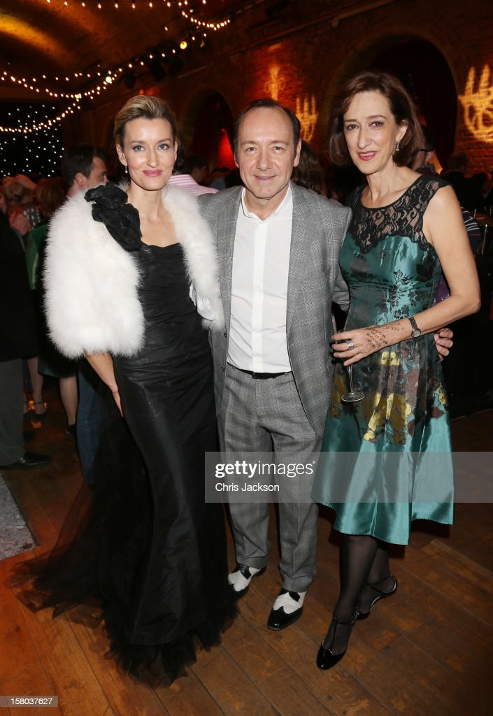 Natalie McElhone, Kevin Spacey and Haydn Gwynne attend the post-show party, The 25th Hour, following The Old Vic's 24 Hour Musicals Celebrity Gala 2012 during which guests drank Jack Daniels Single Barrel, Curtain Raiser cocktails in The Great Halls, Vinopolis, Borough on December 9, 2012 in London, England.