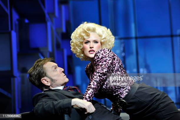 Natalie McQueen as Doralee Rhodes and Brian Conley as Franklin Hart in 9 To 5 The Musical directed by Jeff Calhoun at The Savoy Theatre on February...