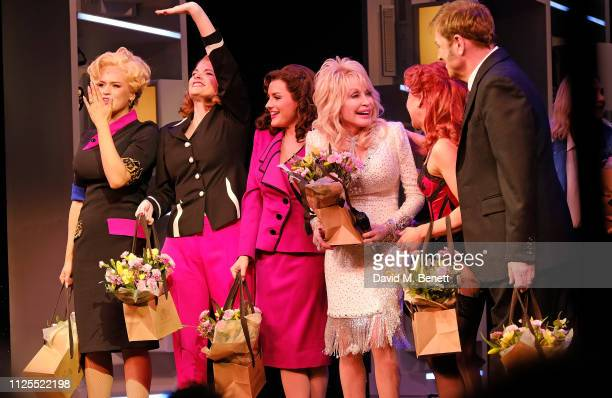 Natalie McQueen Caroline Sheen Amber Davie Dolly Parton Bonnie Langford and Brian Conley bow at the curtain call during the Gala Night performance of...