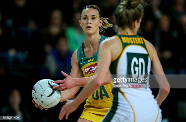 Natalie Medhurst of Australia looks to pass during the International Test Match between Australia and South Africa on August 27 2016 at Vector Arena...
